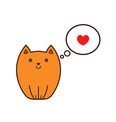 cat with heart in thought cloud vector image