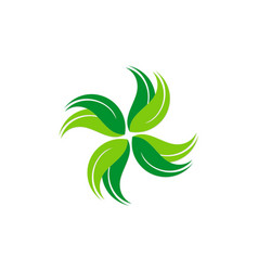 circle green leaf abstract ecology logo vector image