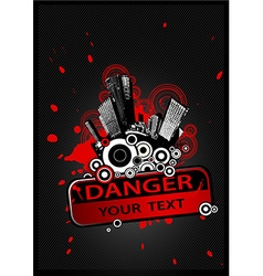 Cityscape with Danger sign on the front and place vector image