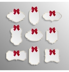 Set of elegant tags with red bows vector image vector image