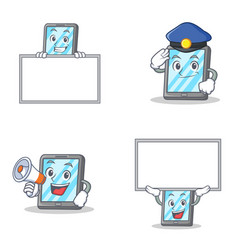 set of tablet character with police megaphone and vector image vector image