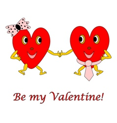 Two funny cartoon hearts vector image