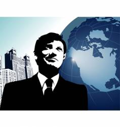 businessman-globe vector image vector image