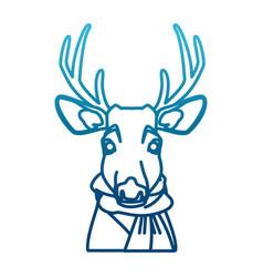cute reindeer with scarf cartoon vector image