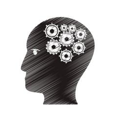 Drawing profile head gear work team vector