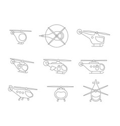 nice set of line helicopters for your design vector image vector image