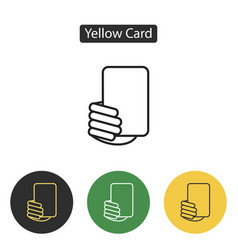 soccer referees hand with yellow card vector image vector image