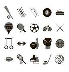 sport icon signs and symbols black set vector image