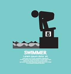 Swimmer At Starting Block Symbol vector image