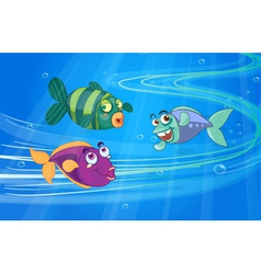 Three fishes with faces vector image vector image