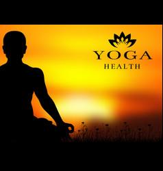 yoga meditation silhouette background vector image