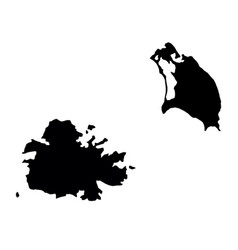 black silhouette country borders map of antigua vector image vector image