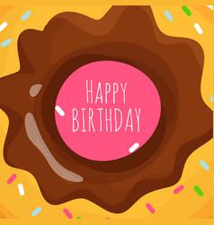 happy birthday background with sweet cartoon donut vector image