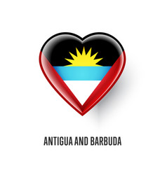 heart symbol with antigua and barbuda flag vector image vector image