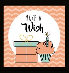 make a wish card invitation greeting cake and gift vector image