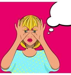 Pretty pop art looking girl vector image vector image