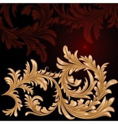 Vintage background with calligraphic floral branch vector image