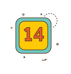 14 date calender icon design vector image