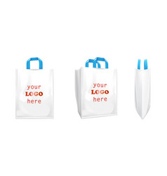 3d white shopping bags with blue handles vector image