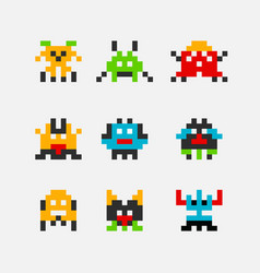 8 bit pixel arcade game alien invader superhero vector image