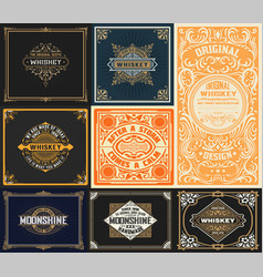 9 vintage cards set vector