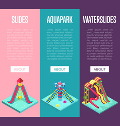 Aquapark waterslides isometric vertical flyers vector