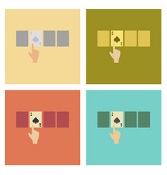 Assembly flat icons poker hand playing cards vector