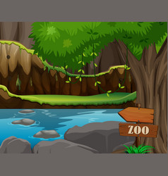 Background scene zoo park with pond and tree vector