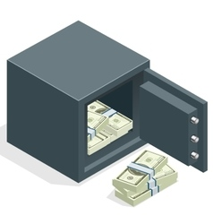 Bank safe with money dollar stacks Safe open with vector