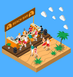 Beach bar isometric composition vector