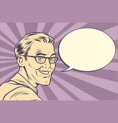 Beautiful smiling man with glasses vintage faded vector