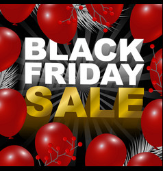 Black friday sale design of red balloon background vector