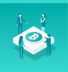 blockchain meeting of people vector image