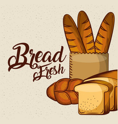 Bread fresh delicious food bake poster vector