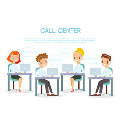 call center operators in vector image