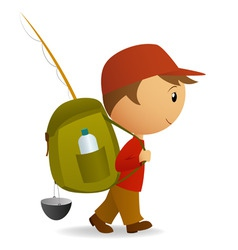 cartoon traveller man with big backpack vector image