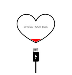 charge your love heart background vector image