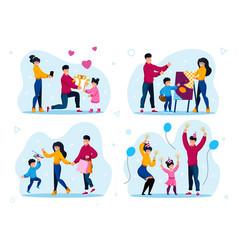 child birthday party kids hobbies flat set vector image