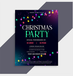 christmas party poster design with decoration vector image