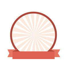 Circular frame with decorative ribbon icon vector