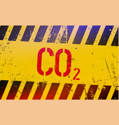 Co2 gas lettering on danger sign with yellow and vector