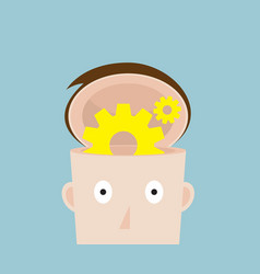 Cog gear wheel in human head vector