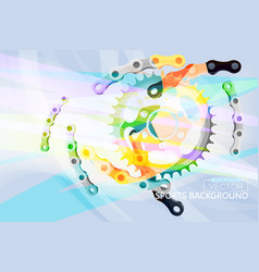 Colorful gear and chain scene vector