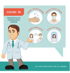 Coronavirus infographic with doctor cartoon vector