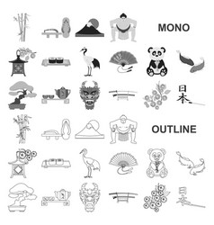 Country japan monochrom icons in set collection vector