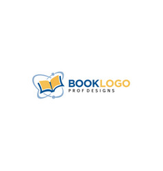 Creative science book atom flying book logo icon vector