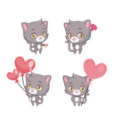 cute gray cat collection with valentine theme vector image