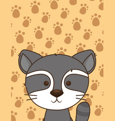 cute little raccoon character vector image