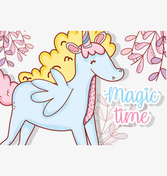 cute unicorn with wings and plants leaves vector image