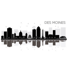 des moines city skyline black and white vector image